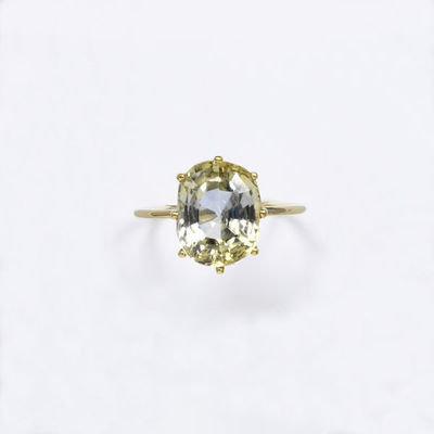 Ring, bi-colour yellow and blue sapphire set in a gold mount, made in Europe, reset mid nineteenth century.Ring with a bi-colour yellow and blue sapphire set in a gold mount.Sapphire set in gold.