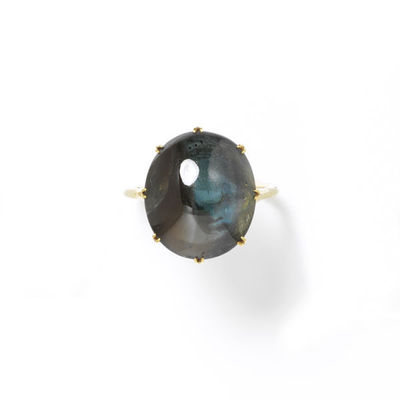 Ring, blue-green sapphire with heavy inclusions in a gold setting of the mid nineteenth century, made in Europe.Ring, a blue-green sapphire with heavy inclusions in a gold setting.Sapphire set in gold.