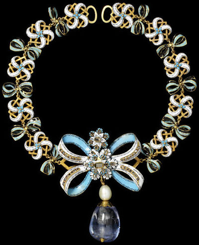 Enamelled gold necklace with pendant, set with diamonds, hung with a pearl and a large sapphire drop, made in Western Europe, the bow about 1660, the chain and pendant 1800-1900.Necklace based on the bow motif. Small bows in alternating turquoise/black and white/turquoise enamel are linked together to form the chain; at the front is a large diamond-set bow with flowers and sapphire and pearl drop. The bow made in Western Europe, about 1660, the chain and pendant probably made 1800-1900.Enamelled gold set with table-cut diamonds, hung with a pearl and a large polished sapphire.