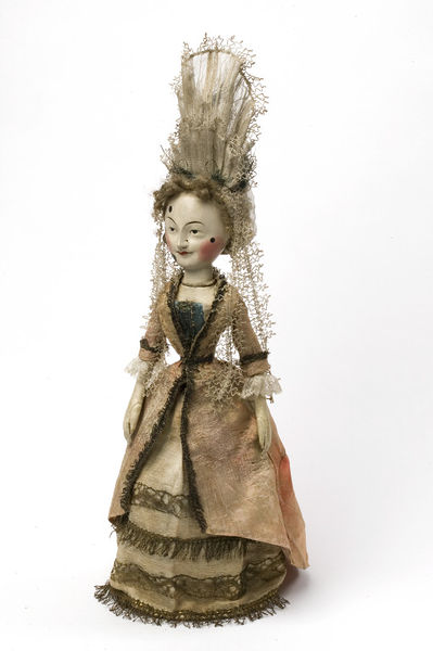 Fashionably dressed wooden doll known as 'The Old Pretender Doll', made in England in about 1680.