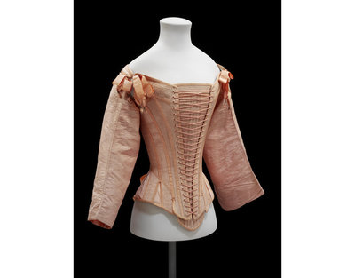 Front-lacing stays and busk of watered pink silk, Dutch?, 1660-1680.