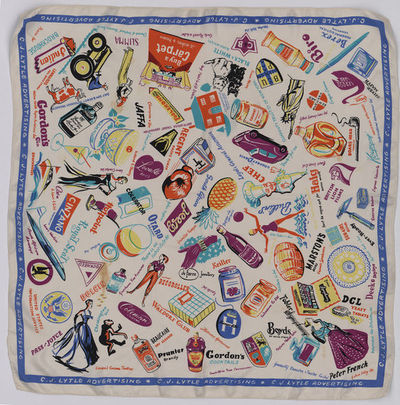 Printed silk head scarf, made in Great Britain, 1950s.  Silk square head scarf printed with advertising slogans and brand names such as Haig's Scotch Whisky and Butlin's in bright colours on a white ground. Printed silk.