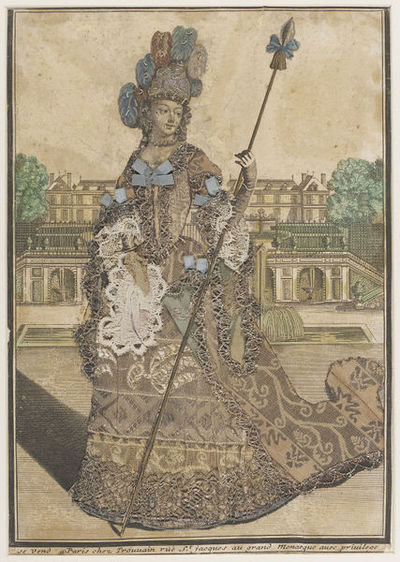 Fashion plate, hand-coloured engraving enriched with brocaded silk, ribbon, lace and metal lace, published by Antoine Trouvain, late 17th-century. Hand coloured engraving enriched with brocaded silk, ribbon, lace and metal lace.