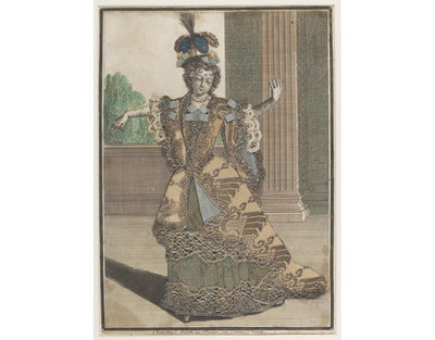 Fashion plate, hand-coloured engraving enriched with brocaded silk, ribbon, lace and metal lace, published by Jean Mariette, late 17th-century. Fashion plate, hand coloured engraving with applied brocaded silk, ribbon, lace and metal lace.
