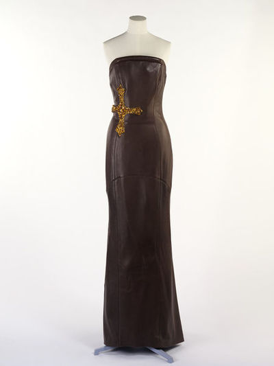 Full length brown leather dress with diamanté cross, Versace, Italy, ca. 2003.