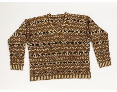 Man's golf sweater in hand-knitted two-ply wool, Shetland Islands, 1920s.
