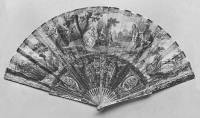 Fan, a scene of rustic courtship painted in watercolour on paper, made in France, 1700-1760. Fan with a scene of rustic courtship painted in watercolour on paper.  Watercolour on paper.