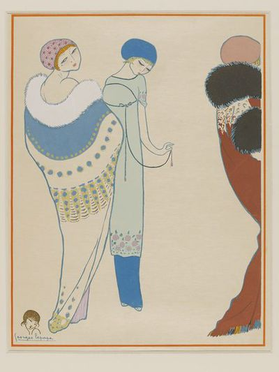 Print by Georges Lepape from <font -u>Les choses de Paul Poiret vues par Georges Lepape</font -u> Paris (France), 1911 (limited edition number 261). Three ladies dressed in two fur- trimmed capes and a layered sheath dress.