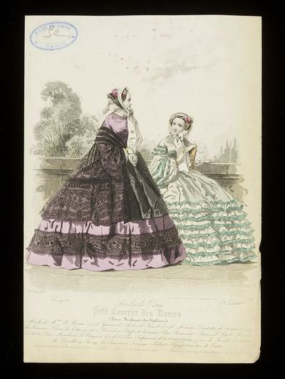 Pouquet and A. Portier. Two day dresses by Madame Plé-Horain and Mme Fauvet with bonnets. Petit Courrier des Dames, 30 June 1860.Two women in an outside setting, one standing in a lilac dress with black lace cape and flounces, the other seated in a palest-green dress with mint green ruching. Both with rose-trimmed bonnets.