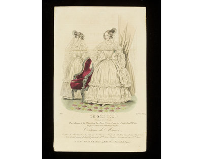 Costume de Mariée'. Wedding dress by Mme Leon Huchéz, Paris, hairstyle by Mariton. Published by Le Bon Ton, France, 1837.Fashion plate showing front and back views of a lace-trimmed white wedding dress with a lace veil and elaborate hairstyle, and a red-upholstered armchair.