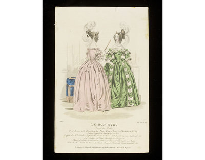 Two views of an evening dress by Madame Sédille and hairstyle by Monsieur Nardin, Paris. Published by Le Bon Ton, France, 1837.Fashion plate showing two views of an evening dress, the back view in pink, the front view in green flowered silk, with puffed sleeves and bow trimmings, and elaborate hairstyles dressed around coiled serpent headbands with large white ostrich feathers and ringlets.