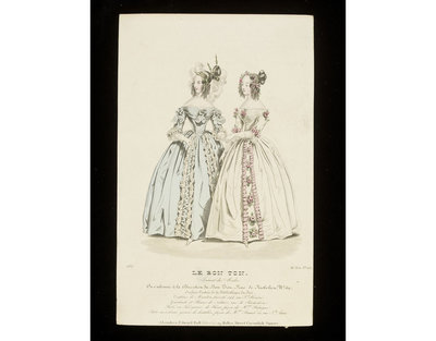Two evening dresses by Madame Palmyre and Madame Brunel, Paris. Published by Le Bon Ton, France, 1837.Fashion plate showing two women in evening dresses, one pale blue with lace trimming, one in white with pink flowers, and very elaborate hairstyles by Mariton, Paris.