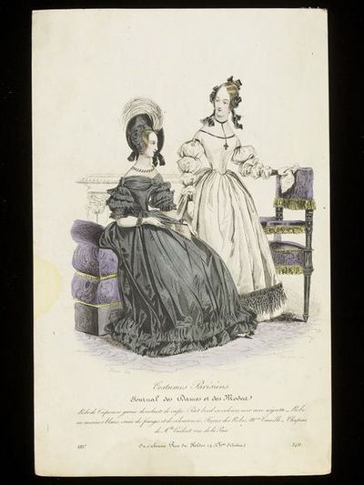 Pierre-Numa Bassaget and Jean-Denis Nargeot. Mourning day and evening dresses. Hand-coloured engraving from the Journal des Dames et des Modes, 1837. Two women in an interior. Seated woman in a black evening or dinner dress in crepe with self-fabric frills and embellishments, standing woman in a relatively simple white dress with black cuffs, piping and fringe, hairstyle dressed with black ribbons. Ebonised furniture with purple and gold upholstery and a carved fireplace in the background.