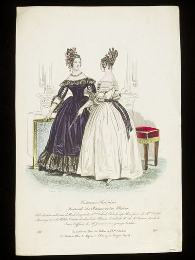 Pierre-Numa Bassaget and Jean-Denis Nargeot. Two evening dresses by Mme Oudot-Manoury, hairstyles by Mr. Jouenne, Paris. Hand-coloured engraving from the Journal des Dames et des Modes, 1837. Two women in an interior, wearing a dark purple evening dress trimmed with black lace and a white dress with a black ribbon sash brocaded in colours, both with elaborate flower-dressed hairstyles. One holds the top of a folding firescreen, the other stands before a upholstered stool, and in the background a fireplace and mirror are lightly etched.