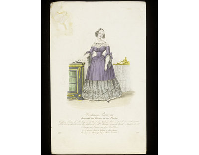 Woman's dinner or evening dress by Mme Minette, and 'Eloïne' hairstyle by Monsieur Sergent, Paris.  Furniture by Lesage. Hand-coloured engraving from the Journal des Dames et des Modes, 1837. Woman standing between a ebonised cabinet with gilt mounts and a firescreen in the form of a curtain suspended from a gilt rail. Her hair is dressed in a coiffure Eloïne, and she wears a purple dress with black lace flounce, engageante cuffs and yoke.