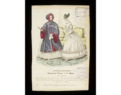 Pelisse Venetienne' and evening dress by Mme Provost with hairstyle by Mme Perret. Hand-coloured engraving from the Journal des Dames et des Modes, 1837. Two women in an interior. On the left, a woman in a loose-fitting hooded domino (here called a Pelisse Venetienne) , on the right a white evening dress trimmed with pleating and ruching, with a hairstyle braided and dressed with grapes. In the background is seen a overstuffed ottoman and cushions, a picture or mirror frame, and a curtain.