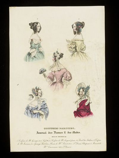 Hats and bonnets by M. Lemonnier and hairstyles by M. Georges, M. Sergent, and M. Jouenne. Paris, Journal des Dames et des Modes, early 1840s. Engraving showing a group of hat, cap, hairstyle and dress neckline designs