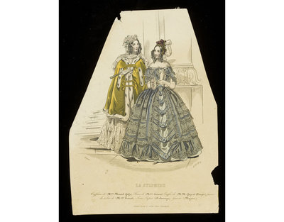 Unknown. Two evening dresses by Mme Houat with hairstyles by Mme Moutel-Galy published in La Sylphide, early 1840s. Two women in evening dresses beside an architectural panel. On the left, a sulphur yellow evening cloak with ermine trimming, on the right, a blue dress with a black lace overskirt,and rosettes