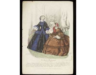 Louis Berlier and Heloïse Leloir. Two women's day dresses by Baisieux with hats and hairstyles by Alexandrine, published in Le Petit Messager, 1 January 1858. Hand-coloured engraving showing two women's day dresses in an interior. Standing, a woman in a black day dress and paletot with wide bands of blue overlaid with black lace. Seated, a woman in a brown day dress trimmed with tassels and a red and black bonnet. Behind them, a vase of flowers in a wall alcove is seen, and a sofa backrest with an elaborately fringed and embellished crest.