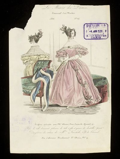 Front and back views of an evening dress by Mme Larochelle with hairstyle by Monsieur Olivier, Paris. Hand-coloured engraving from Le Miroir des Dames, 1836. Front and back views of a woman's evening dress with puffed sleeves.  Front view in pink, showing a puffed fabric and flower decoration down the side of the skirt front, the shoulders bare. Back view in yellow, with a whitework embroidered pelerine worn to cover the shoulders and low neck. Over an armchair in the foreground are thrown a white-fur trimmed blue mantle and bouquet.  Both women with elaborately dressed, curled, and braided hairstyles with roses.