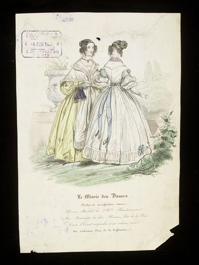 Women's day dresses, with mantle by Mlle Baudrimont, Paris, and reticule by Boivin. Hand-coloured engraving from Le Miroir des Dames, 1836. Two women in an outdoor setting, one in a yellow dress with a pelerine mantle trimmed with pleated frills, holding a reticule, the other in a white dress with blue ribbons, both showing front and back views of a curled hairstyle with a bun.