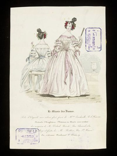 Front and back views of an organdie day dress by Mme Ecorcheville with hairstyle by M. Berthier. Hand-coloured engraving from Le Miroir des Dames, 1836. Front and back views of a white organdie day dress over a blue or pink underdress with co-ordinating ribbons, the hair dressed with fruit and leaves.