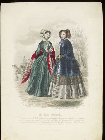 Célestin Deshays and Gabriel Xavier Montaut d'Oleron. Two walking dresses by Mme Olmer with bonnets by Lucille Laborde and mantles by Mme Mounier. Les Modes Parisiennes, mid 1840s.Two women shown in a wintry landscape with a horse-drawn carriage in the background. On the left, a green dress with braiding and lace, light green bonnet, and wine-coloured shawl. On the right, a grey dress with sapphire blue velvet mantle trimmed with black lace and brown bonnet.