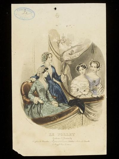 Anaïs Toudouze. Four day and evening dresses by Camille. Paris, with hairstyles and caps by Hamelin. Hand-coloured engraving from Le Follet. Paris, c.1850. Four women in two theatre boxes. On the left, day dresses in pale green moire and blue silk, with whitework caps trimmed with ribbons and chemisettes. On the right, two low-cut evening dresses, one with an ermine wrap, and elaborate hairstyles and headdresses.