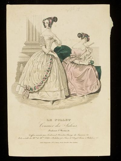 Two evening dresses by Mme Pollet, with hairstyles by Ferdinand Hamelin, Paris. Hand-coloured engraving from Le Follet. Paris, mid-1840s. Two women in white and pink evening dresses trimmed with ruffles, the white dress with a buffon of tulle and pink roses on the skirt. Both showing front and back views of the same hairstyle, trimmed with pink roses.