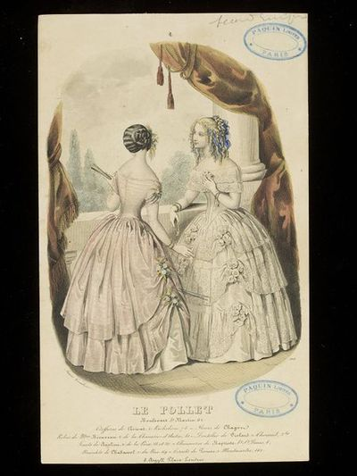 Anaïs Toudouze Two evening dresses by Mme Bienvenu, Paris, with hairstyles by Croisat. Hand-coloured engraving from Le Follet. Paris, c.1852. Two women in evening dresses on a balcony looking out over a view. On the left, a pale pink dress with tiered overskirt caught up with bunches of flowers and wheat, the hair dressed with a similar ornament. On the right, a white dress with lace flounces and bunches of white roses, the blonde hair dressed as a mass of ringlets and blue ribbons.