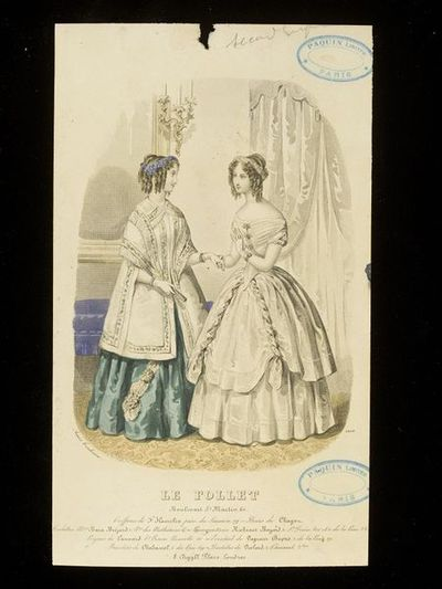 Anaïs Toudouze. Two women's dresses by Mme Bara Bréjard, Paris, with hairstyles by Hamelin. Hand-coloured engraving from Le Follet. Paris, late 1840s. Two women in an interior in evening dress. On the left, a mantle with fringe and bands of flowered ribbon, over a sea-green dress trimmed with ostrich feathers. On the right, a white evening dress with curled ribbons. Both women with wreaths and curled and elaborately dressed hair. In the background, a curtain, a mirror and a wall sconce.
