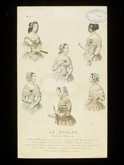 Six cap, hairstyle and dress bodice designs. Paris, Le Follet, early 1840s. Engraving showing a group of hat and cap, hairstyle and dress neckline designs