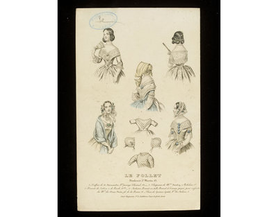 Five cap, hairstyle and dress bodice designs, and a group of baby clothes. Paris, Le Follet, early 1840s. Engraving showing a group of hat and cap, hairstyle and dress neckline designs