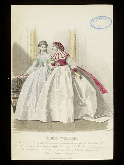 François-Claudins Compte-Calix and Lacouriere. Two day dresses by Gagelin. Les Modes Parisiennes, early 1860s. Two women in day dresses with very large crinoline skirts. One in pale grey with mint green polka dots, the bodice with ruching and mint green detailing, the other wears a white dress with cherry red ruched waist, matching ruched trimming, and ribbon sash, both with complex braided and curled hairstyles and the second woman with a kind of snood of cherry-coloured ribbons.