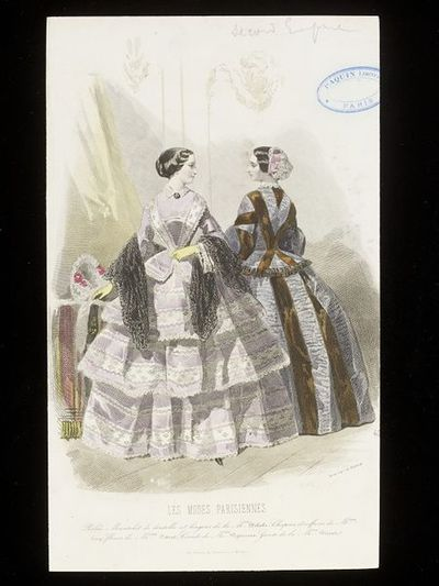 François-Claudins Compte-Calix and A. Portier. Two day ensembles by Delisle, with hats and hairstyles by Mme Levy. Les Modes Parisiennes, 1858-60. Two women in an interior in day dresses. On the left, a flounced dress with lilac border pattern, pinking, and black lace shawl; and on the right, a grey ruched dress with wide brown stripes and a white lace cap with pink ribbons.