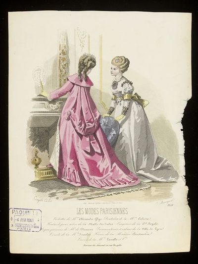 François-Claudins Compte-Calix and E. Braequet. Two day dresses by Mme Alexandre Ghys. Les Modes Parisiennes, 1868-69. Two women at a fireplace in an interior with very elaborate eighteenth-century style hairstyles and at-home dresses. On the left, a pink sack-backed wrapper or dressing-gown with the skirt drawn up into a bustle drape, lined with white quiting and worn over a barely-seen white gown, on the right a pale grey dress with yellow sash and bustle bow, the bodice trimmed with black lace and yellow elbow bands.