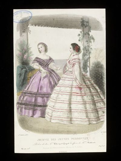 Heloïse Leloir. Two women's evening dresses by Mme Thierry and Mme Guyot published in the Journal des Jeunes Personnes, October 1859. Hairstyles by Mme Matteuet.Two evening dresses shown in an outdoor setting with sea and cliffs in the background. On the left, a purple dress trimmed with black lace, on the right, a white dress trimmed with narrow crimson ribbons and white pinked frills, both ladies with co-ordinating flower and lace headdresses and hairstyles by Madame Matteuet