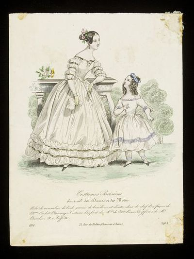 Pierre-Numa Bassaget and Jean-Denis Nargeot. Woman's dress by Mme Oudot-Manoury and child's dress by Mme Rome, Paris, with hairstyles by M. Baudin. Hand-coloured engraving from the Journal des Dames et des Modes, 1836. Woman and child in a garden. The woman, leaning on a stone balustrade, wears a white dress trimmed with puffed fabric and olive ribbons; the little girl has a white dress and pantalettes trimmed with blue ribbons.