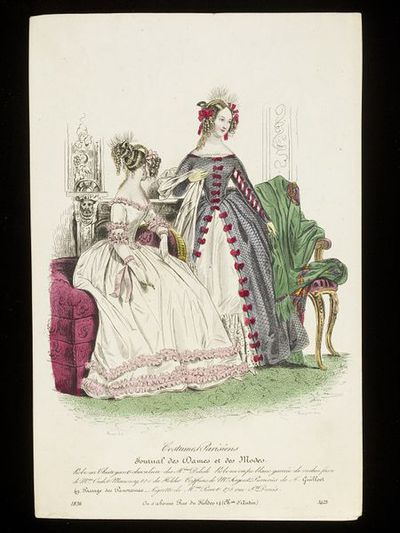 Pierre-Numa Bassaget and Jean-Denis Nargeot. Two women's dresses by Mme Oudot-Manoury and Delisle, hairstyles by Mr. Sergent-Pierrieres. Hand-coloured engraving from the Journal des Dames et des Modes, 1836. Two women in an interior. On the left, woman in a white dress with pink frills, seated on a red-upholstered ottoman with a gilt armrest, on the right woman in a silver mesh overdress (described as chatoyant-chevalier, literally 'shimmering knight') with red bows. Also in the scene is a gilt-framed chair with a large green shawl thrown over it, and carved architectural woodwork behind the figures.