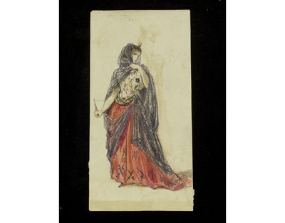 Fashion design by Jules Marre. Woman's masquerade ball dress. Unclear subject, possibly Cleopatra or Medea. Watercolour drawing probably for Charles Frederick Worth. Paris, 1860s. Watercolour drawing, a design for a theatrical or masquerade fancy-dress ball costume.  Watercolour and pencil drawing.