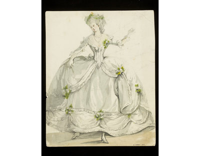 Fashion design, woman's masquerade ball dress. Eighteenth century style. Watercolour drawing probably by Jules Marre for Charles Frederick Worth. Paris, 1860s. Watercolour drawing, a design for a theatrical or masquerade fancy-dress ball costume.  Watercolour and pencil drawing.