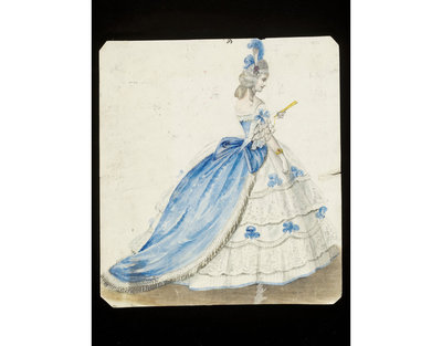Fashion design, woman's masquerade ball dress in the eighteenth century style. Watercolour drawing by Jules Helleu or Léon Sault, probably for Charles Frederick Worth. Paris, 1860s. Watercolour drawing, a design for a theatrical or masquerade fancy-dress ball costume.  Watercolour and pencil drawing.
