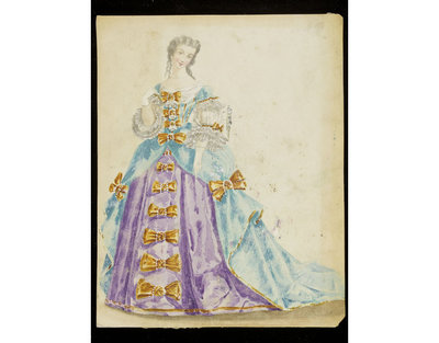 Fashion design, woman's masquerade ball dress in seventeenth century style. Watercolour drawing by Léon Sault, probably for Charles Frederick Worth. Paris, 1860s. Watercolour drawing, a design for a theatrical or masquerade fancy-dress ball costume.  Watercolour and pencil drawing.
