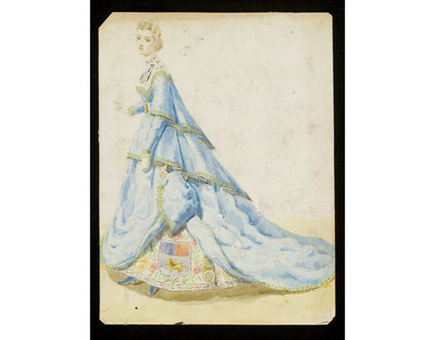 Fashion design by Léon Sault. Woman's masquerade ball dress. Unknown subject with heraldic theme. Watercolour drawing probably for Charles Frederick Worth. Paris, 1860s. Watercolour drawing, a design for a theatrical or masquerade fancy-dress ball costume.  Watercolour and pencil drawing.