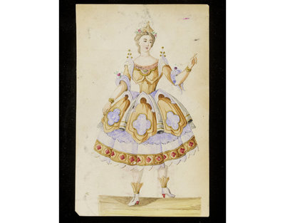Fashion design, woman's masquerade ball dress. Architectural gothic theme. Watercolour drawing probably for Charles Frederick Worth. Paris, 1860s. Watercolour drawing, a design for a theatrical or masquerade fancy-dress ball costume.  Watercolour and pencil drawing.