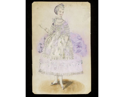Fashion design, woman's masquerade ball dress in a c.1775 polonaise style. Watercolour drawing by Taubin, probably for Charles Frederick Worth. Paris, 1860s. Watercolour drawing, a design for a theatrical or masquerade fancy-dress ball costume in the eighteenth century style.  Watercolour and pencil drawing.