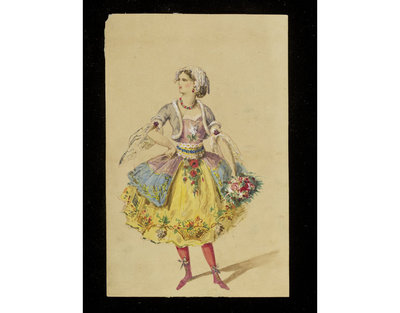Fashion design, woman's masquerade ball dress. Vaguely rococo style with flowers. Watercolour drawing probably by Jules Marre for Charles Frederick Worth. Paris, 1860s. Watercolour drawing, a design for a theatrical or masquerade fancy-dress ball costume.  Watercolour and pencil drawing.