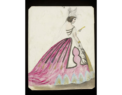 Fashion design, woman's masquerade ball dress. Unknown subject. Watercolour drawing by Jules Helleu, probably for Charles Frederick Worth. Paris, 1860s. Watercolour drawing, a design for a theatrical or masquerade fancy-dress ball costume.  Watercolour and pencil drawing.