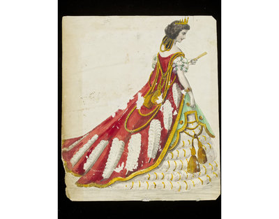 Fashion design, woman's masquerade ball dress, representing a queen in state robes. Watercolour drawing by Jules Helleu, probably for Charles Frederick Worth. Paris, 1860s. Watercolour drawing, a design for a theatrical or masquerade fancy-dress ball costume. A queen in rich gold-trimmed scarlet robes over a gold-embellished crinoline dress.  Watercolour and pencil drawing.