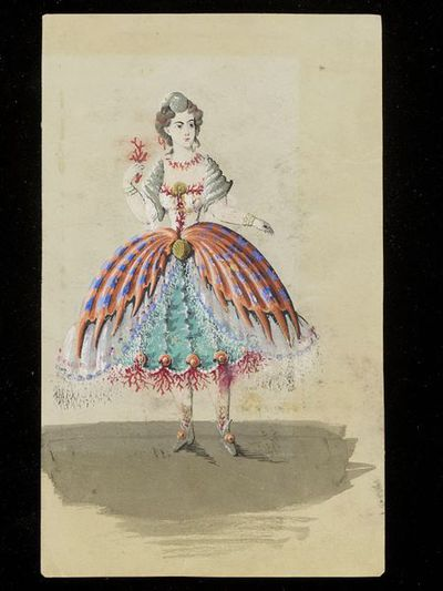 Fashion design, woman's masquerade ball dress. Undersea theme. Watercolour drawing, probably for Charles Frederick Worth. Paris, 1860s. Watercolour drawing, a design for a theatrical or masquerade fancy-dress ball costume.  Watercolour and pencil drawing.
